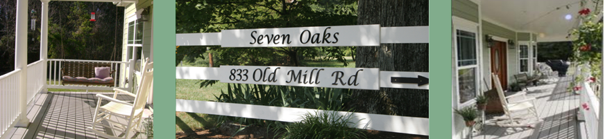 Rocking Chairs on Porch at Seven Oaks Bed and Breakfast